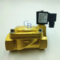 "DC12V G2"" Brass Electric Solenoid Valve 232 psi Normally Closed Air Water"