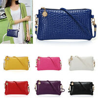 Women Crocodile Leather Handbag Ladies Purse Zipper Messenger Crossbody Bag