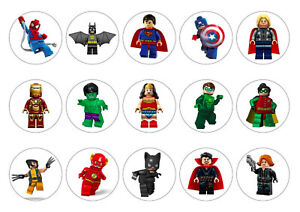 Lego Superhero Cupcake Toppers | Icing Sheet / Wafer Paper | Edible Print