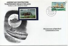 WWII 1941 USS Reuben James Sunk by U-Boat Stamp Cover (Iceland/Danbury Mint)