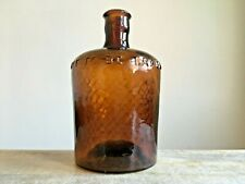 More details for vintage brown embossed not to be taken cross grid pattern glass poison bottle
