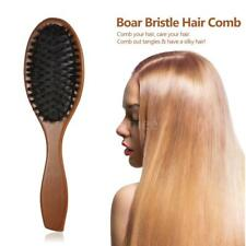 Boar Hair Scalp Bristle Beard Brush Comb Military Wood Handle Women Men E7T1