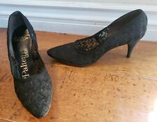 Vintage Palter Debs Black Lace Cocktail Dress Pumps Heels Shoes Womens Size 6 Aa