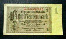 OLD BANK NOTE OF THIRD REICH GERMANY 1 RENTENMARK 1937 NO. Z39606995