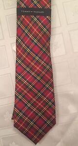 Tommy Hilfiger Mens Tie 100% Silk Necktie Tartan Plaid Slim Preppy Red NEW $65