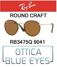 RAYBAN RB 3475Q 9041 ROUND CRAFT sunglasses Ray Ban leather Brown B15 Gold New