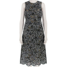 Michael Kors Black Grey Textured Wool Applique Lace Dress US6 IT42 UK10