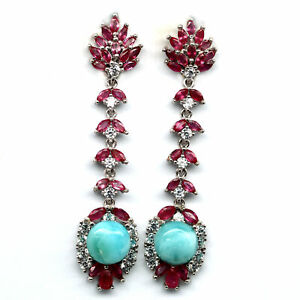NATURAL 10 mm. BLUE LARIMAR, PINK RUBY & CZ 925 STERLING SILVER EARRINGS