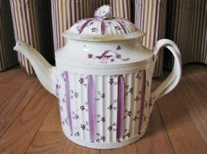 Scarce Creamware Teapot Twisted Handles & Floral Finial in Violet; 18th Century