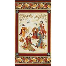 "Fabric Asian Geisha Metallic on Cotton Panel 24""x42"