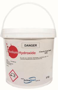 SODIUM HYDROXIDE Caustic Soda Pearl 5 kg LYE Soap Making Degreaser Cleaner