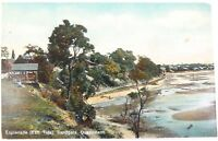 .1911 RARE VIEW, ESPLANADE (EBB TIDE) SANDGATE QLD GLOSS COLOUR POSTCARD.
