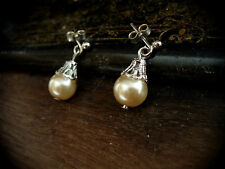 Vintage Gold,Oyster, Round Pearl and Filigree Cap Drop Pierced Earrings