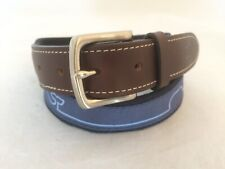 Men's Vineyard Vines Brown Leather and Blue Canvas Whale Belt size 30
