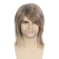 Mens Brown Wig Male Mid Length Long Straight Cosplay Party Hairpieces Toupee 16""