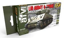 AK Interactive AKI-4210 US Army & USMC Green Colors Acrylic Paint Set (6 Colors)
