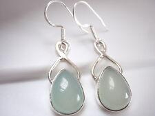 Nicely Accented Chalcedony Teardrop 925 Sterling Silver Dangle Earrings