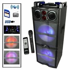 "beFREE Dual 10"" Inch Subwoofer Bluetooth Portable Party DJ Speaker LIGHTS USB FM"