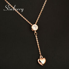 Charm Crystal Gold Heart Pendant Necklace Chain For Women 18K Rose Gold Xl691