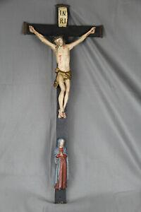 Christus Jesus am Kreuz Kruzifix Volkskunst Bayern Oberammergau Maria um 1870