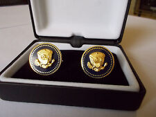 CUFF LINKS 24K GOLD-PLATED PRESIDENT BARAK OBAMA VIP BLUE COBALT FREE SHIPPING