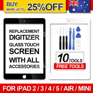 For iPad 2/3/4/ Air1/Mini1 Digitizer Front Touch Screen Glass Replacement+Tools