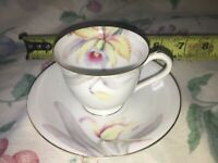 VTG Yellow Red Blue Lily Tea Cup & Saucer w/ Gold Trim China Made in Japan small