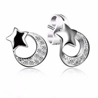 Elegant Lady Sterling 925 Silver Ear Stud Dangle Fashion Zircon Earrings Jewelry