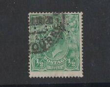 1918 Australia KGV 1/2d green large multi wmk SG O61 OS perfin fine used
