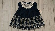 Bonnie Baby 24 Month Girl Chambray Ivory White Lace Eyelet Dress NEW