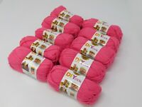 NIB Lion brand Acrylic 4 ply yarn 10 Small Skeins bag 650 yards Color Hot Pink