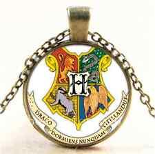 Vintage Hogwarts Coat Of Arms Cabochon Glass Bronze Chain Pendant Necklace