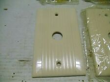 1 Old Vintage Fancy Ribbed Ivory Push Button Switch Plate Cover NOS Bakelite