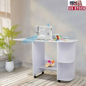 Folding Sewing Craft Table Shelves Storage Cabinet Portable Rolling Desk White