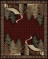 Lodge Cabin Rustic Pine Red Area Rug **FREE SHIPPING**
