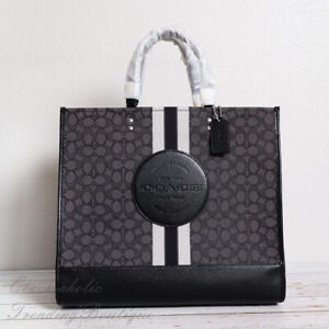 NWT Coach C1548 Dempsey Tote 40 in Jacquard with Stripe and Coach Patch in Smoke