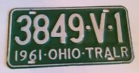Ohio License Plate 1961 Trailer #3849-V-1 Vintage Green and White