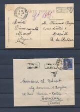 Enveloppe et CP avec encadré TROUVE/A LA BOITE 2 types rares. P4371