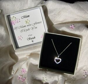 Jewellery Gift for Mum Sister  sterling silver heart pendant CZ personalised box