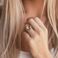Solitaire 925 Sterling Silver 9.6 Carat Yellow Lemon Quartz Gemstone Ring Size