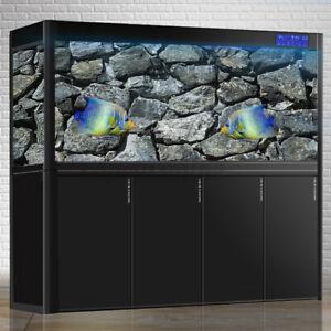 3D Black Stone Aquarium Background Fish Tank Decor Landscape Adhesive Posters UK