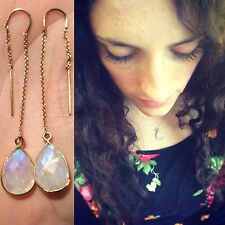 Moonstone Matching Earring-Necklace Jewelry Set, Threaders-Teardrop Necklace
