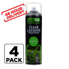 4 x AUTOTEK Clear Laquer Spray Acrylic Top Coat for Plastic Steel Metal 500m