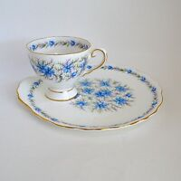 Royal Tuscan Blue Love In The Mist Snack Set Hostess Plate England