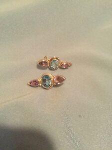 Amethyst Blue Topaz 3-Stone 925 Sterling Silver Post Earrings