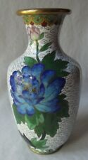 "Lovely Vintage White With Blue Mums Chinese Cloisonne Vase 7-3/8"" T"