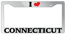 Chrome METAL License Plate Frame I HEART CONNECTICUT Auto Accessory 1197