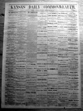 3 rare1869 DAILY KANSAS COMMONWEALTH newspapers TOPEKA Volume I WILD BILL HICKOK