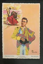 Embroidered clothing postcard Artist Elsi Gumier, Bull Fighting matador Sanchez