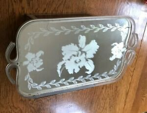 Vintage Mirrored Etched Orchid Vanity Tray
